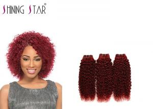 China Burgundy 3 Bundles Kinky Curly Hair Weave For Women No Synthetic Mixed on sale