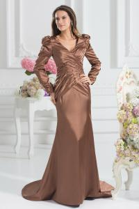 China Graceful V Neck Satin Bride Mothers Dresses Lace Long Sleeve Mother Gown on sale