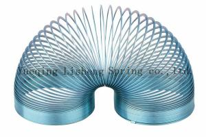 China Blue Colored Metal Slinky , Metal Coil Spring Toy Eco Friendly Material on sale