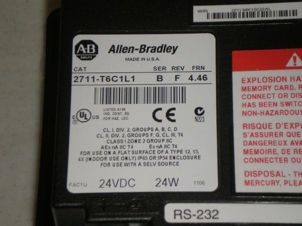 Ser B Allen Bradley Panelview 600 Touch Screen Replacement 2711