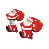 Unique PVC Customised USB Flash Drives Red Santa Claus For Christmas Gift