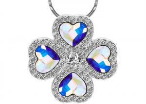 China Fashion Sterling Silver Charm Necklace Pave CZ With Four Austra Crystal Heart Necklace on sale