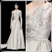 China One Shoulder Long Sleeves Long Evening Party Dresses , 2014 Elie Saab Lace Prom Gowns on sale