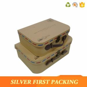 China Silverfirst Cardboard Suitcase Paper Material Kraft Brown Color Kids Suitcase Paper Gift Box on sale