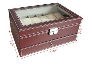 Quality Handmade Mens Watch Jewelry Box , Brown12 Slots Wooden Watch  Storage Case For Sale ...