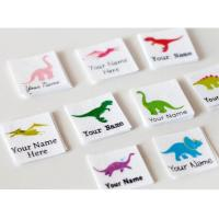China Kids Animal Design Custom Printed Clothing Labels Cotton Printed Dinosaur on sale