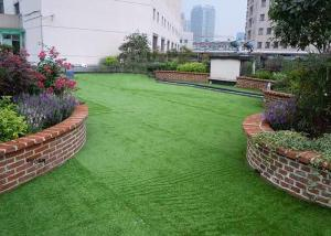 China PE + PP Material Artificial Grass Landscaping Flat Yarn Shape , Easy To Install on sale