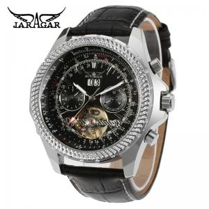 China Mens Automatic Black Leather Wristwatch  Style Fashion Brand Jarger on sale