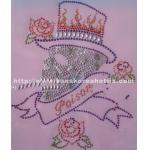 Rhinestone hotfix motif, skull motif heat transfer, lead free rhinestud, T shirt motif