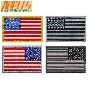 China Merrow Border Velcro Backing Embroidery Flag Patch on sale