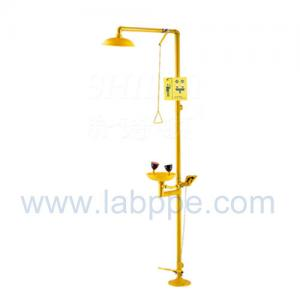 Quality SH712TF-Safety shower & eyewash station WITH FOOT PEDAL,Carbon steel,yellow for sale