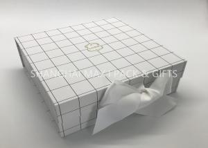 China Fancy 7× 7 Chipboard Gift Boxes White Grid Printing Matt Lamination Surface Disposal on sale