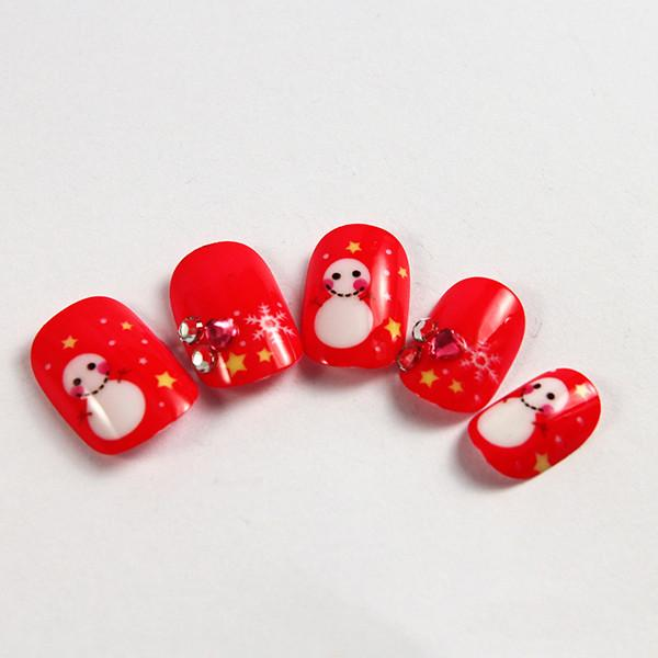 Snowman Cartoon Fake Nails Red Cute ABS Plastic False Nail For Kids ...