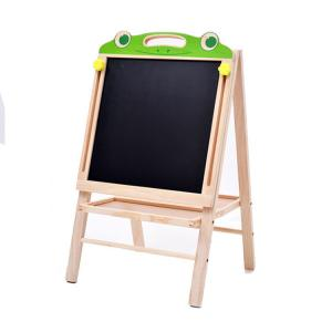 China Wooden double sided frog style magnetic kids drawing writing sketchpad easel black board on sale