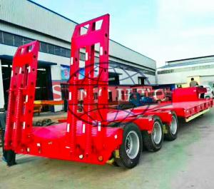 China 3 Axles Gooseneck Low Bed Semi Trailer For Excavator Transport 60 Ton Load on sale