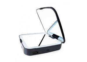 China USB Charging Mirror Power Bank Double Side Folding Lighted Vanity Makeup Mirror With 5X Magnifacation on sale