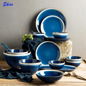 China High quality reactive glaze ceramic dinnerware set,promotional 16pcs stoneware tableware on sale