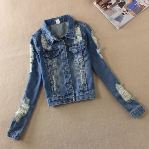 China Button Closure Down Patch Womens Denim Jeans Jacket With Embroidered Pocket on sale