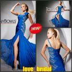 Robes 2013 de soirée bleues en cristal de mousseline de soie d'épaule faite sur commande du l'Un-line un de concepteur en ligne