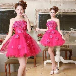 China Fuchsia Flower Strapless Tulle Short Prom Dress 2014 Lace-up or Zipper Closure Above Knee Girls Ball Gown on sale
