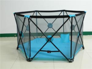 China Multifunction Metal Pop N Portable Playard For Baby Play Games With 6 Panel on sale