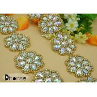 China Large Bling Stone Rhinestone Beaded Trim For Wedding Dress , Flower Design on sale