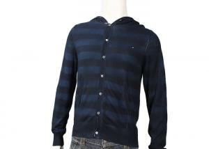 China Custom Cotton And Acrylic Full Zip Mens Cable Sweater Hoodie Stripe Pattern on sale