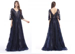 China Ladies Half Sleeves Navy Blue Prom Dresses , Long Formal Dresses With Hot Rhinestone on sale
