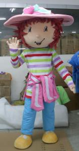 Quality handmade lovely big-head Strawberry Short mascot costume for adult for sale