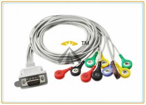 China Gray 10 Lead ECG Electrode Cable Holter DMS 300 Series With Leadwires Snap IEC on sale