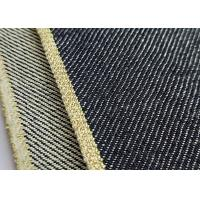 Hemming Gold Mens Selvedge Denim Fabric , Japanese Raw Denim Fabric Yarn Dyed