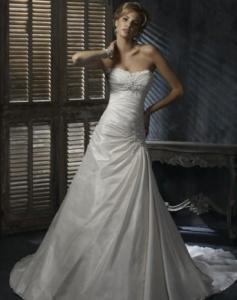 China Ivory Taffeta Wedding Dress Bridal Gown Embellished Lace on sale