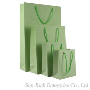 China Custom Solid color Light green hand paper bag shopping bag on sale