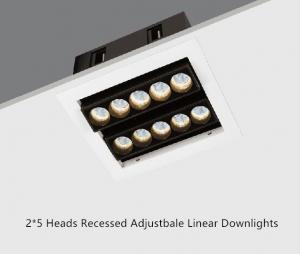 China Double Line 2*5 Heads 21W Recessed Led Spotlights Linear Adjustable Downlight on sale