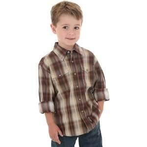 China Stylish Long sleeve Flannel kids polo plaid shirts Anti - Wrinkle for Autumn on sale