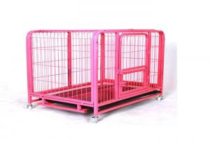 China Pink Color Metal Wire Mesh Collapsible Dog Crate Kennel Cage Can Customized on sale