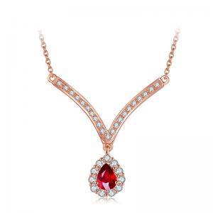 China Contemporary Diamond Gemstone Jewelry Diamond And Ruby Pendant Necklace  on sale