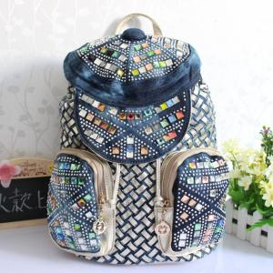 China Cheap new denim woven bag large capacity, leisure travel backpack wholesale trade on sale