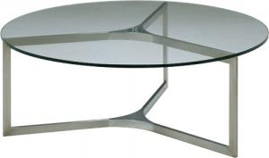 Quality Round Tempered Glass Metal Coffee Table , Stainless Steel Base coffee table for sale