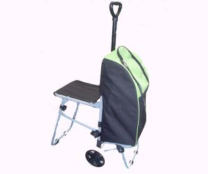 China Foldable Shopping cart Supermarket trolley with Chair on sale