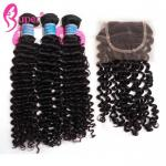 100g Raw Cambodian Remy Human Hair Extensions / Loose Curly Virgin Weave Bundles