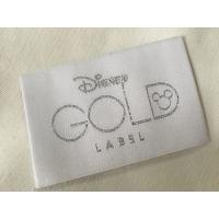 China Disney Gold Bage End Fold Woven Clothing Labels Cold Cut / Heat Cut on sale
