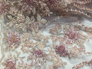 China 47 Inch Pink Embroidered Heavy Beaded Lace Fabric By The Yard With Scalloped Edge on sale