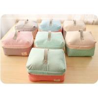China Striped Professional Makeup Cases / Foldable Multicolor Nylon Train Case Makeup Bag on sale