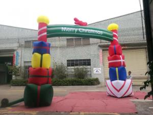 China Colorfull PVC Coated Nylon Inflatable Christmas Decorations / Blow Up Arch on sale