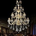 Grandes candelabros de cristal tradicionais para a iluminação do projeto do vestíbulo do hotel (WH-CY-35)
