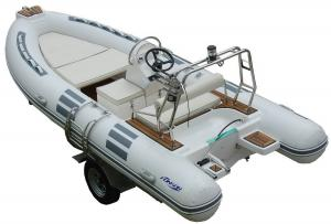 China Hand Made FRP Inflatable RIB Boats , Deep - V Fiberglass Hull Inflatable Fishing Dinghy on sale