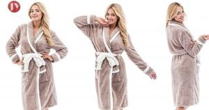 China Plush Woman Long Kimono Style Night Bathrobe , Trendy Ladies Pyjamas Customized Fabric Weight on sale