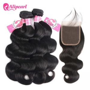 China Body Wave Human Hair Bundles With Closure 4×4 Brazilian Remy Hair Natural Part on sale