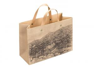 China Brown Kraft Custom Printed Paper Bags Packaging Multi - Size With Flat Handle on sale